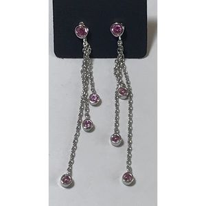 Sterling Pink CZ Crystal Chain Dangle Earrings
